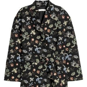 H&M black embroidered belted blazer jacket XS